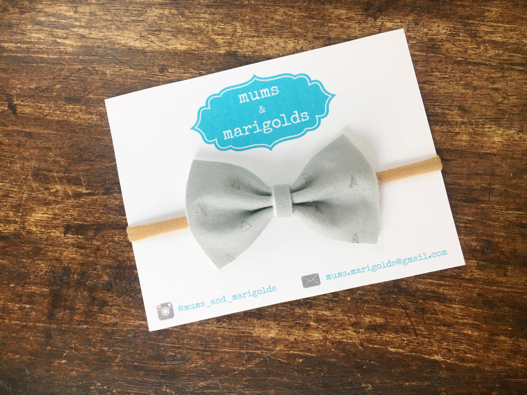 Raelynn - Gray with Silver accents bow, tan nylon headband, Baby Shower gift, Baby Accessories, Toddler Accessories