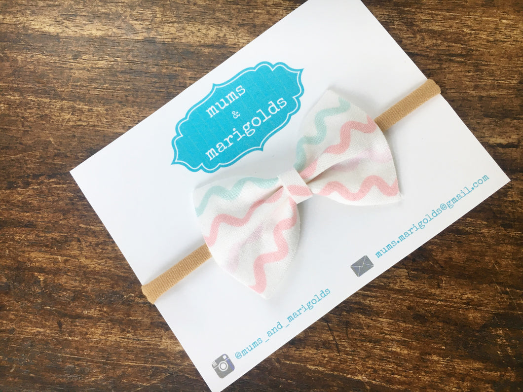 Savannah - pastel mint green, gray, pink and coral wave cotton bow, pink nylon headband, clip, baby shower gift, baby girl gift, baby accessories, toddler accessories