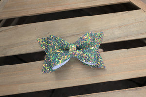 Tinkerbell Large - Green glitter bow, baby shower gift, baby gift, toddler accessories, baby accessories
