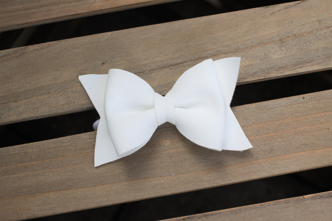 White glitter suede bow Large - White nylon headband, winter bow, White vegan suede, tan nylon headband, Baby Shower gift, Baby Accessories, Toddler Accessories