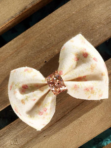 Alice with Rose Gold Center - vintage inspired cream with pink floral cotton bow with tan nylon headband, baby shower gift, baby gift, baby accessories, toddler accessories