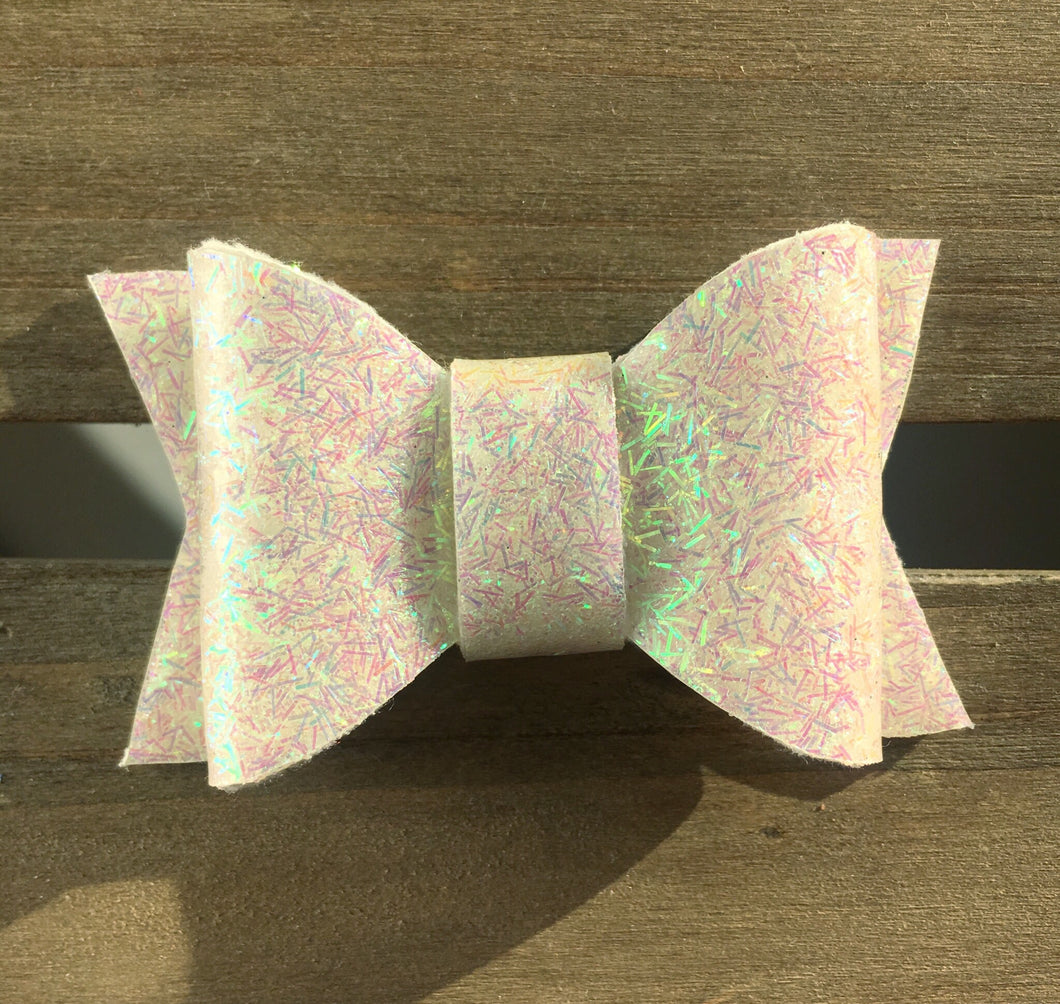 Bahari - Baby's first Easter, vegan leather bow, white jelly bow, springtime, spring bow, spring headband, tan nylon headband