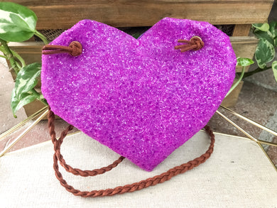 Bright Purple Glass Glitter Purse