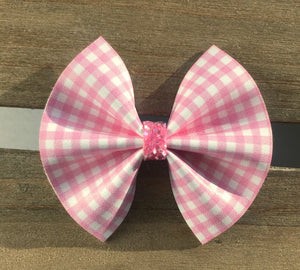 Bonnie pink - Baby's first Easter, vegan leather bow, pink gingham, springtime, spring bow, spring headband, tan nylon headband