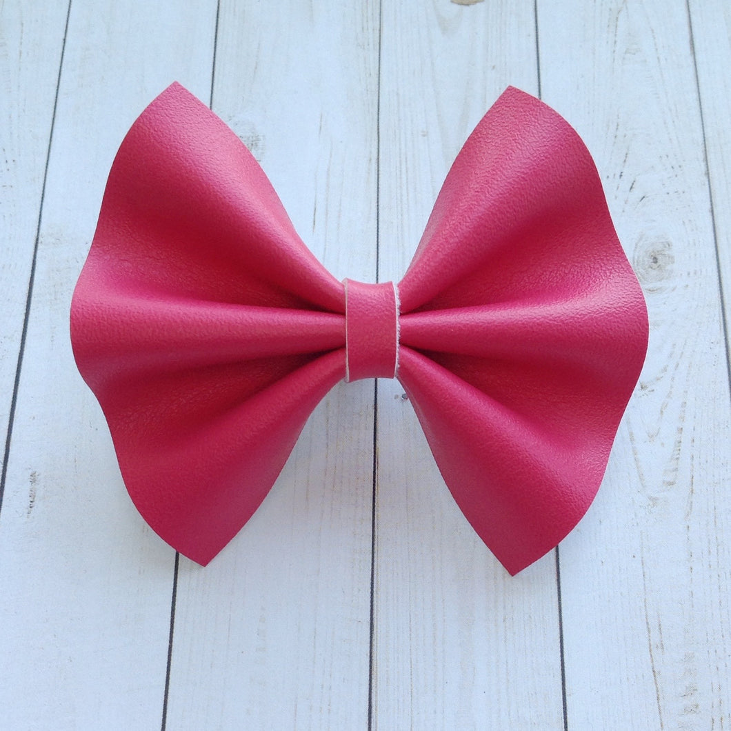 Dark Pink Smooth vegan leather - Baby's first birthday, baby shower gift, toddler gift, pink bow