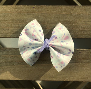 Bunny Hop - Baby's first Easter, vegan leather bow, lavender bow, springtime, spring bow, spring headband, tan nylon headband