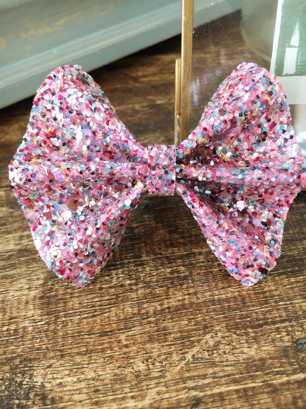 Dixie Bow *Small* - Multi colored glitter bow, pink multicolored glitter headband, baby shower gift, baby gift shower, baby accessories, toddler accessories