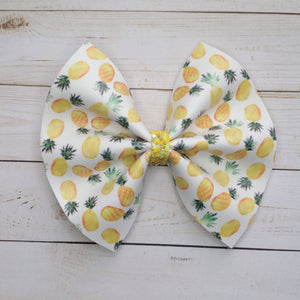 Pina Colada- Baby's First birthday, baby shower gift, toddler gift, pineapple bow, yellow bow, vegan leather bow