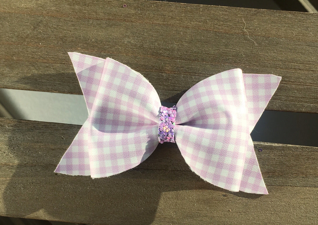 Bonnie lavender large - Baby's first Easter, vegan leather bow, lavender gingham, springtime, spring bow, spring headband, tan nylon headband
