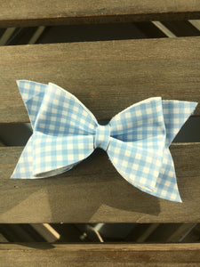 Bonnie blue large - Baby's first Easter, vegan leather bow, blue gingham, springtime, spring bow, spring headband, tan nylon headband