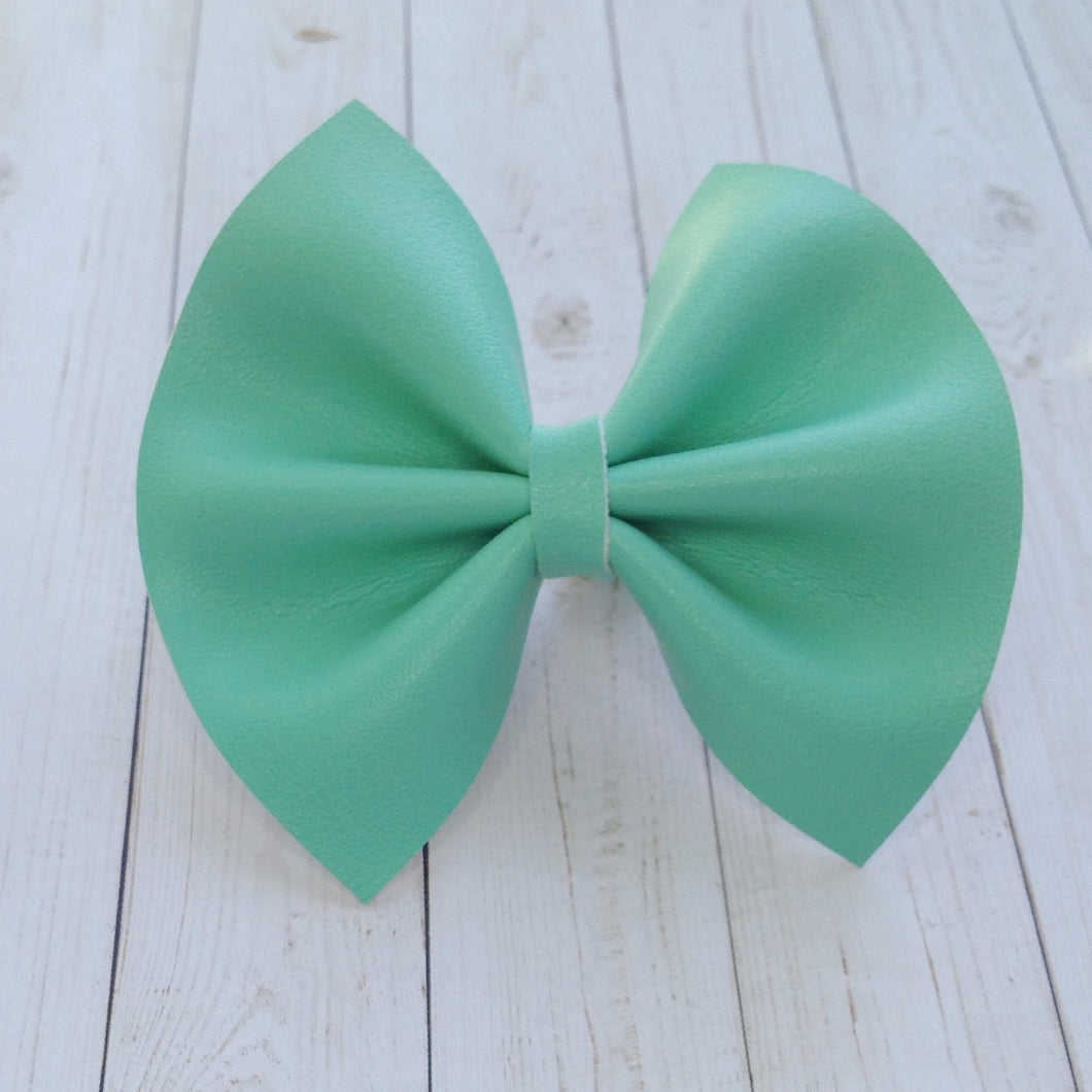 Smooth Tiffany - Turquoise vegan leather bow, Baby's first birthday, baby shower gift, toddler gift