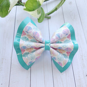 She sells seashells Double -Baby's First birthday, baby shower gift, toddler gift, vegan leather, seashell bow, patent leather bow