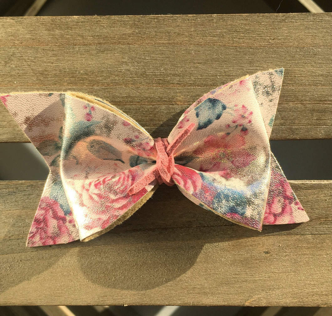 Ginny Baby's first Easter, vegan leather bow, pink bow, vintage floral bow, springtime, spring bow, spring headband, tan nylon headband