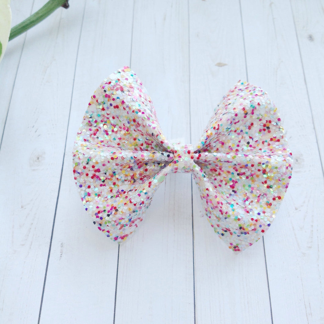 Confetti glitter standard - Baby's first birthday, birthday bow, baby shower gift, toddler gift, multi colored glitter bow