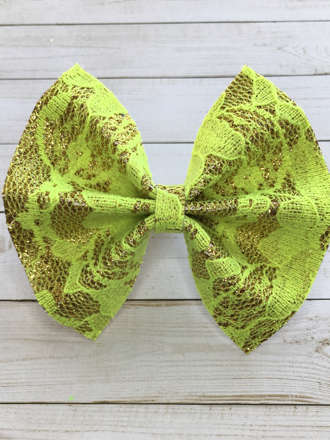 Gold glitter with bright neon yellow lace