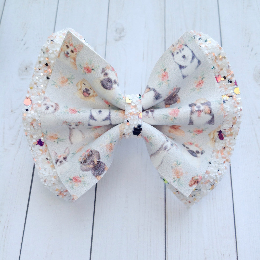 Furry Friends double - Baby's first birthday, bay shower gift, toddler gift, dog lovers bow