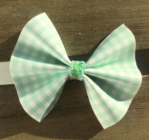 Bonnie mint OG Standard - Baby's first Easter, vegan leather bow, mint green gingham, springtime, spring bow, spring headband, tan nylon headband