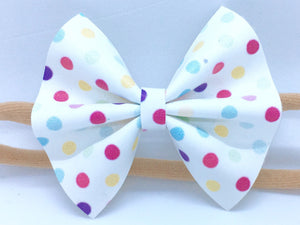 Olivia White - rainbow polka dots, white vegan bow, vegan leather, polka dot bow, tan nylon headband, felt lined alligator clip, baby shower gift, baby accessories, toddler accessories, Spring 2018