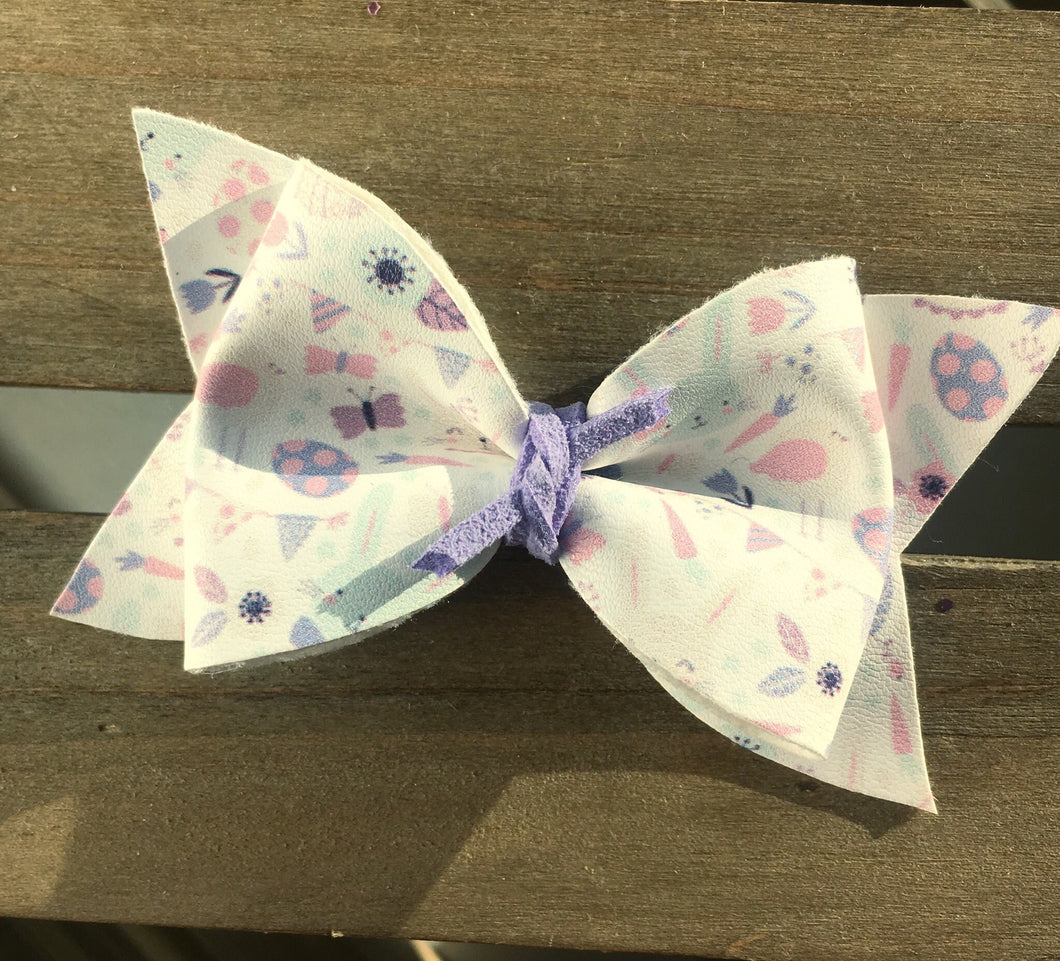 Bunny Hop - Baby's first Easter, vegan leather bow, bunny bow, lavender bow,  springtime, spring bow, spring headband, tan nylon headband