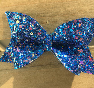 Azure - Baby's first Easter, vegan leather bow, blue glitter bow, springtime, spring bow, spring headband, tan nylon headband