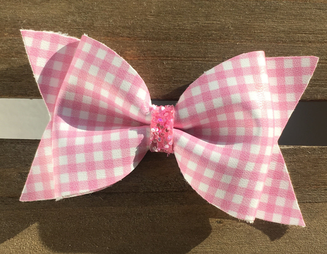 Bonnie pink large -Baby's first Easter, vegan leather bow, pink gingham, springtime, spring bow, spring headband, tan nylon headband