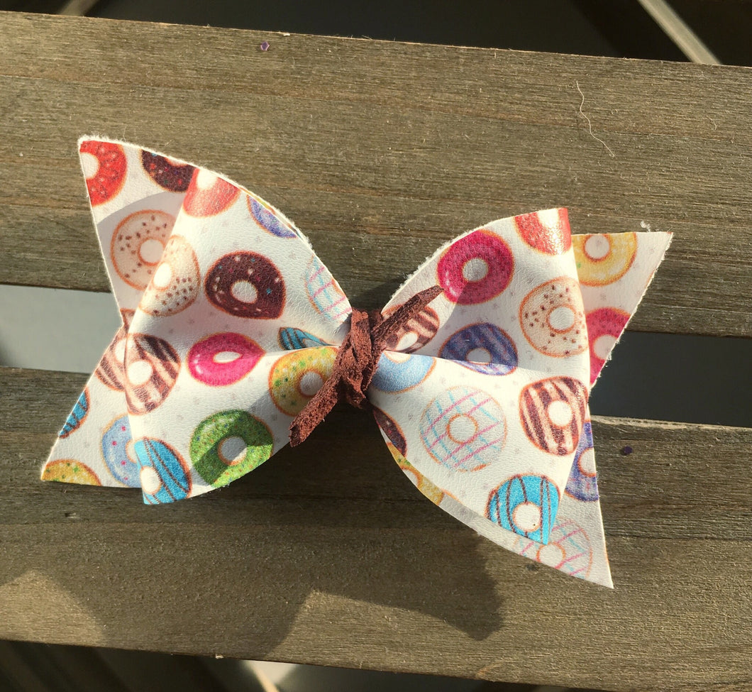Donut Princess large - Baby's first Easter, vegan leather bow, donut bow, tan nylon headband