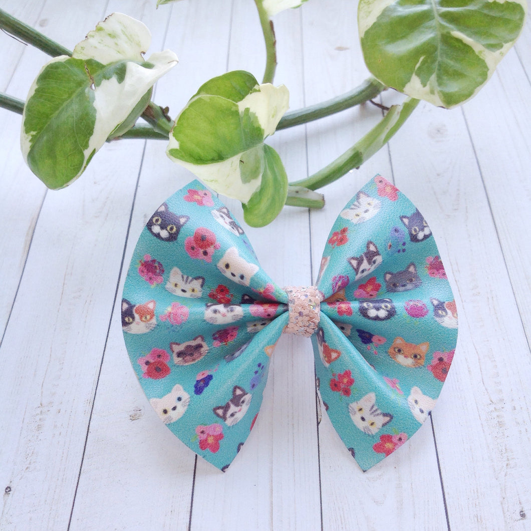 Puuurrrfect pals  standard - Baby's First birthday, baby shower gift, toddler gift, cat lovers bow, vegan leather bow