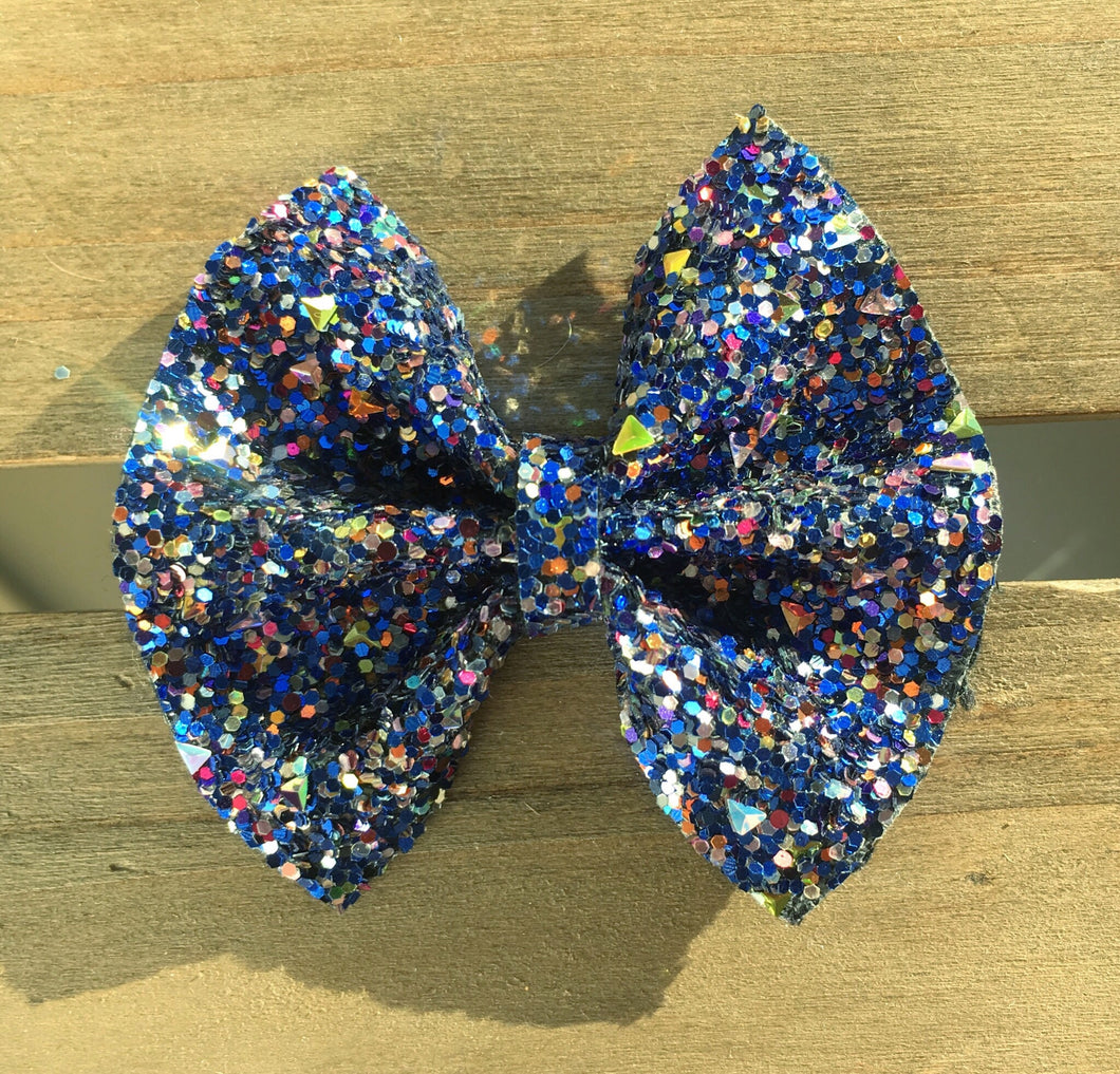 Laila Blue OG Standard - Baby's first Easter, vegan leather bow, blue glitter bow, springtime, spring bow, spring headband, tan nylon headband