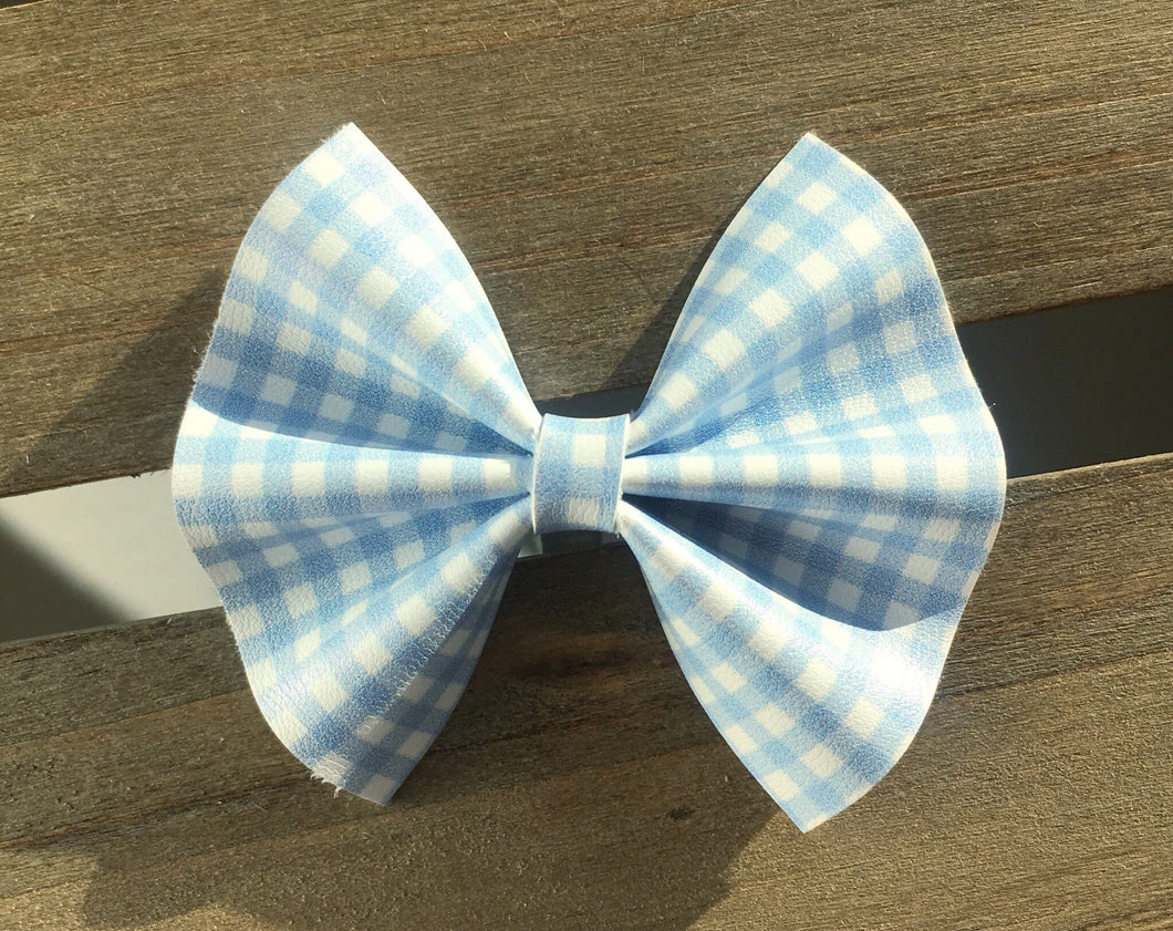 Bonnie blue - Baby's first Easter, vegan leather bow, blue gingham, springtime, spring bow, spring headband, tan nylon headband