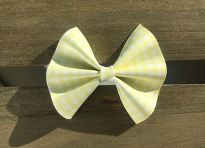 Bonnie OG Standard - Lemon Baby's first Easter, vegan leather bow, yellow gingham, springtime, spring bow, spring headband, tan nylon headband