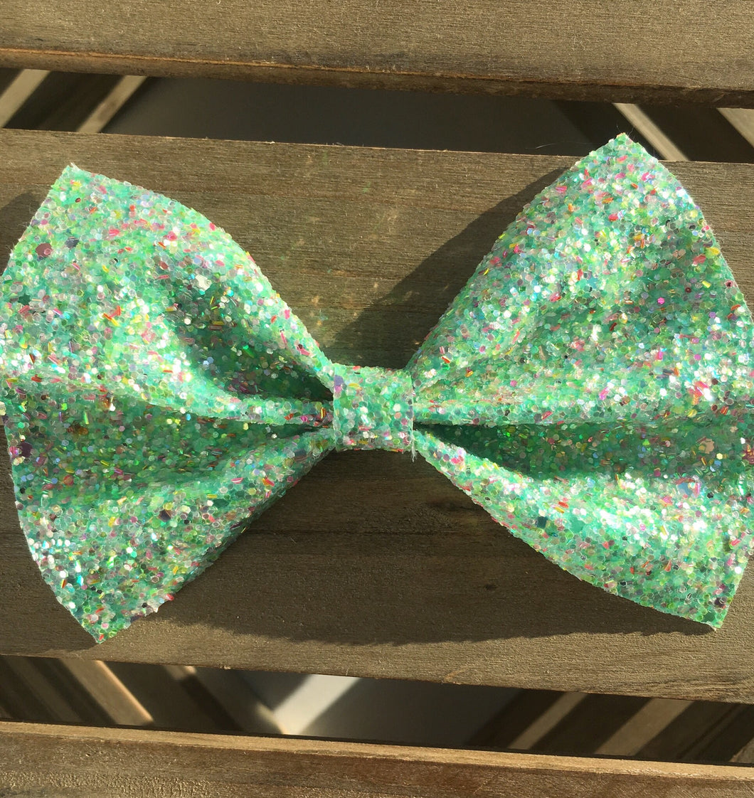 Caspian XL - Baby's first Easter, vegan leather bow, mint green glitter, springtime, spring bow, spring headband, tan nylon headband