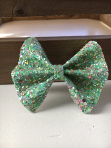 Caspian - Baby's first Easter, vegan leather bow, mint glitter, springtime, spring bow, spring headband, tan nylon headband