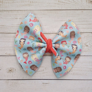 Emmee Standard - Mermaid bow, baby's first mermaid, mermaid party, blue bow, coral suede, vegan leather bow, mermaid bow