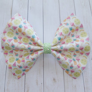 Tropical Treats XL - vegan leather bow, summer time bow, lime green glitter bow, toddler gift, baby shower gift