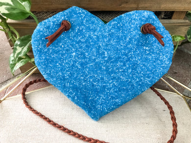 Bright Blue Glass Glitter Purse