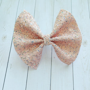 Peach Glitter Standard - Baby's First birthday, baby shower gift, toddler gift, peach glitter bow