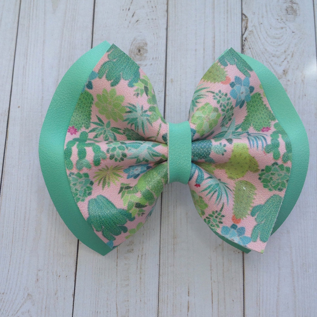 Prickly Sweet double - Baby's first birthday, baby shower gift, toddler gift, Cactus bow, vegan leather bow, succulent bow