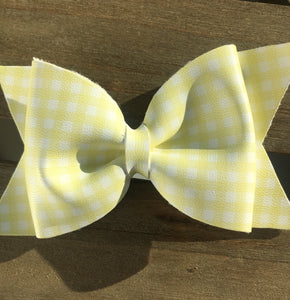 Bonnie - Lemon Large, Baby's first Easter, vegan leather bow, yellow gingham, springtime, spring bow, spring headband, tan nylon headband