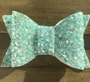 Skye - Baby's first Easter, vegan leather bow, icy blue glitter, springtime, spring bow, spring headband, tan nylon headband