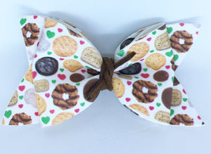 Girl Scout Cookies - Baby's first Easter, vegan leather bow, Girl Scout cookies,  springtime, spring bow, spring headband, tan nylon headband