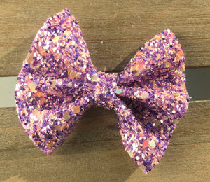 Violet OG Standard - Baby's first Easter, vegan leather bow, purple glitter, springtime, spring bow, spring headband, tan nylon headband