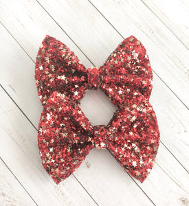 Piggy Set - Red glitter with Gold Stars