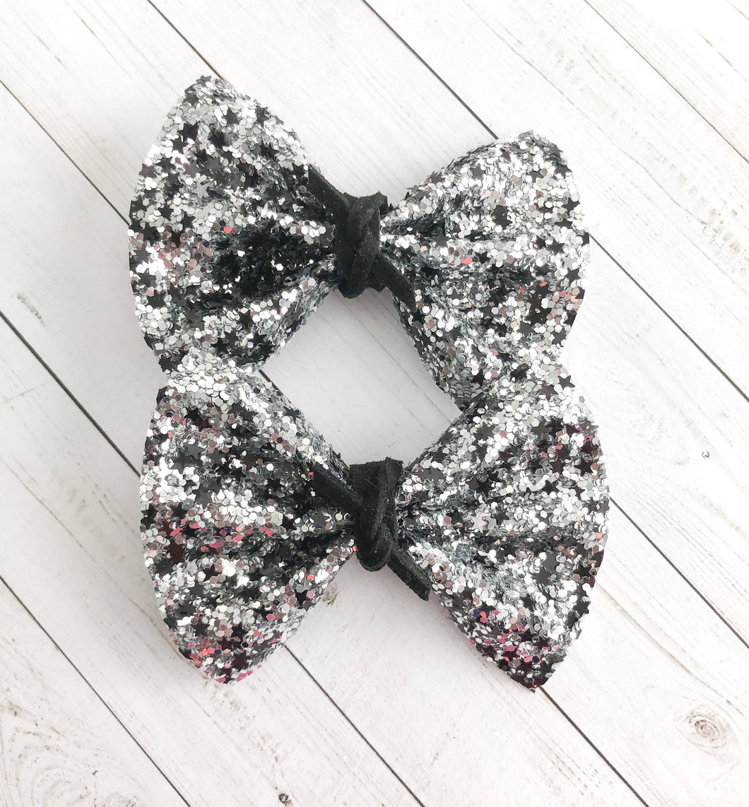 Piggy Set - Silver glitter with black stars