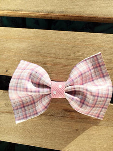Lavender & Pink Plaid with Pink Polka Dot Center - Vegan leather bow, baby shower gift, baby gift, baby accessories, toddler accessories