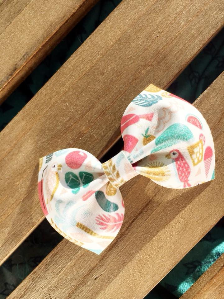 Tropical Paradise Vegan Leather Bow - baby shower gift, baby gift, baby accessories, toddler accessories, pink nylon headband, vegan headband