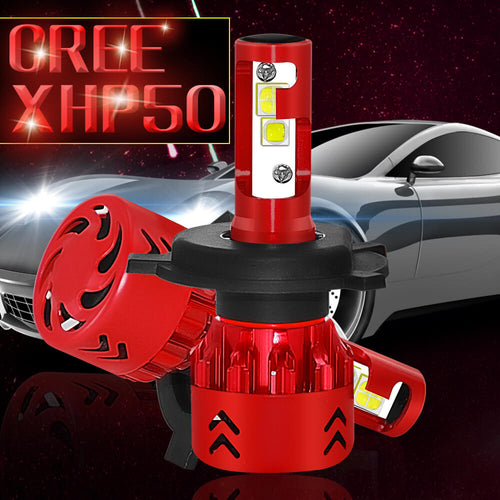Automotive LED Headlight Bulbs w/ CREE XHP50 and External LED Driver 9600 Lumen 48 Watt Red - BROS International Co., Limited BROSintl