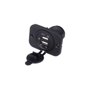 Dual USB Charger with Panel Black