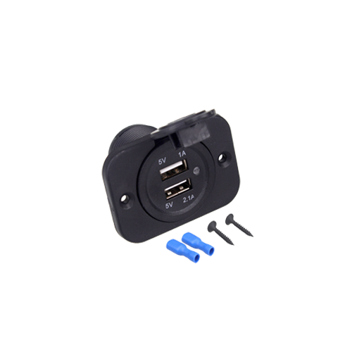 Dual USB Charger with Panel Black - BROS International Co., Limited BROSintl