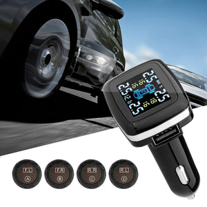 Wireless Car Tire Pressure Alarm Monitor System w/ LCD Display - Car 4 External Sensor Temperature Alarm