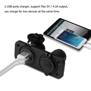 Dual USB Charger - Power Socket w/ LED Indicator on Panel for Car Boat Motorcycle